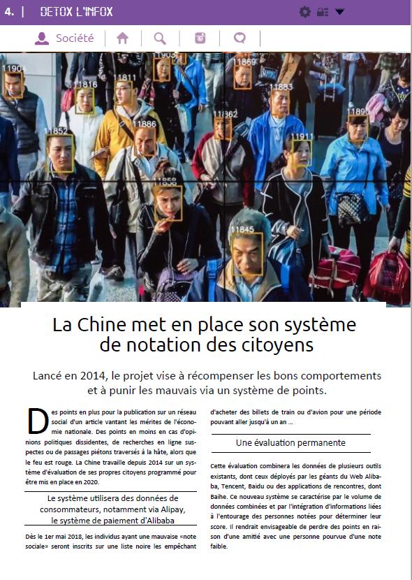 """Le """"Vrai du Faux"""" sur la notation des citoyens chinois."""